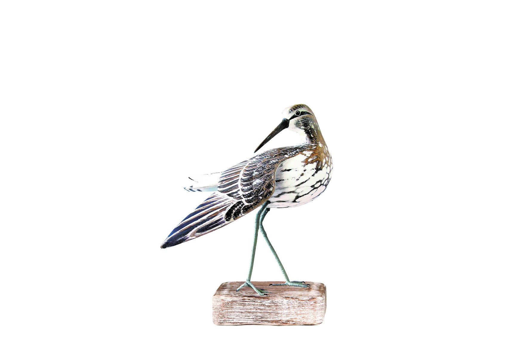 Archipelago Sandpiper Preening wood carving D206. Standing on a block of wood . Fair trading