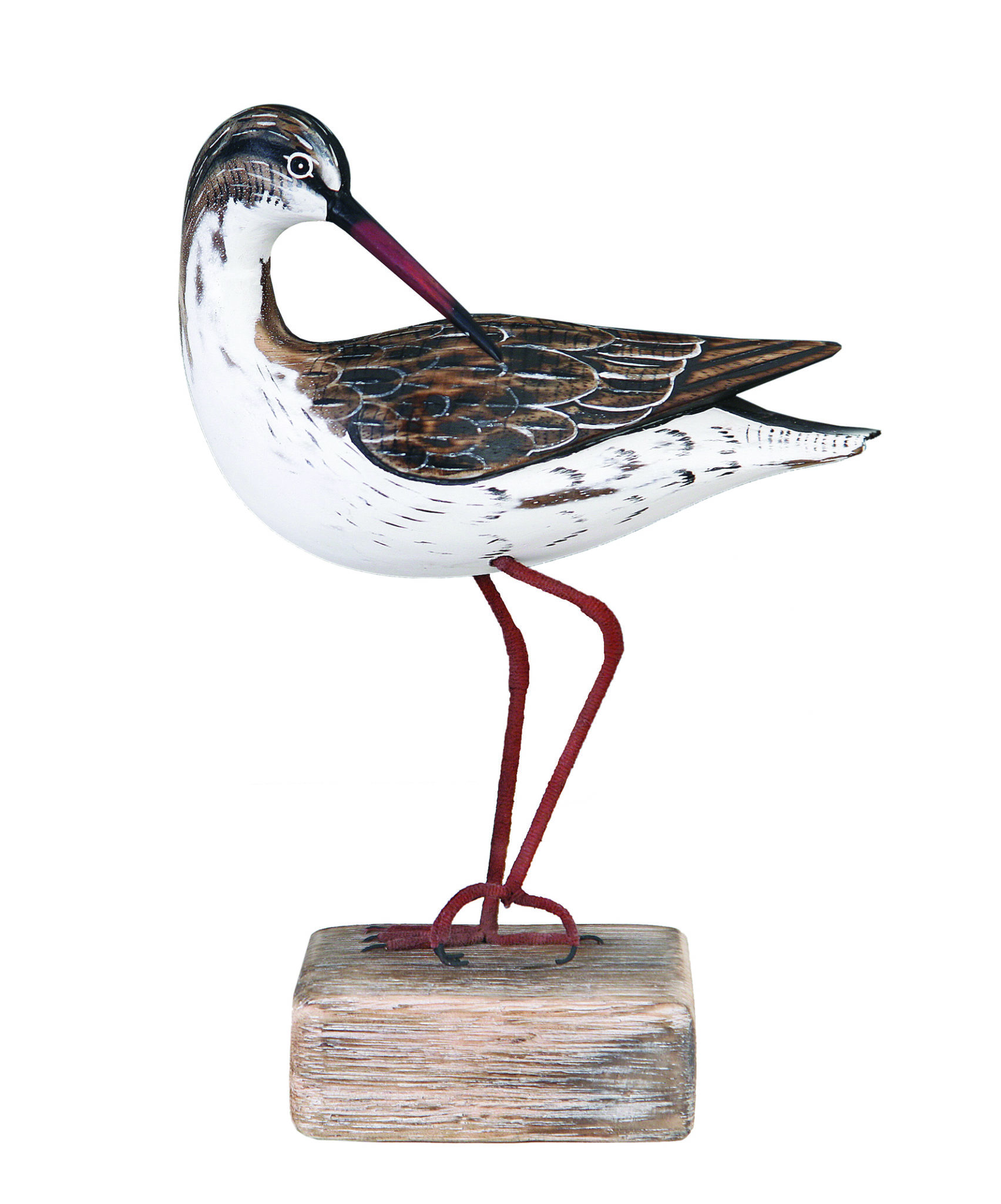Archipelago Redshank Preening Wood Carving D247 standing on a wood block, hand carved and painted. Fair Trade