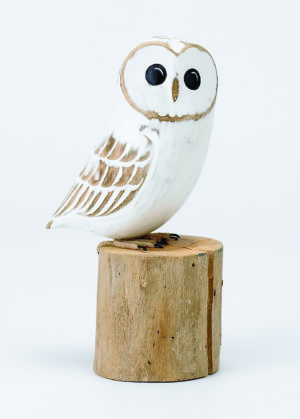 Archipelago Baby Barn Owl Wood Carving D323.white owl perched on a log. Fair trade