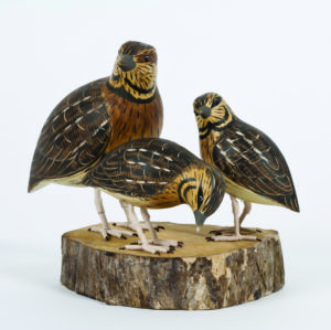 Archipelago Quail Block Wood Carving D369 standing on wood block. hand painted and carved. fairtrade