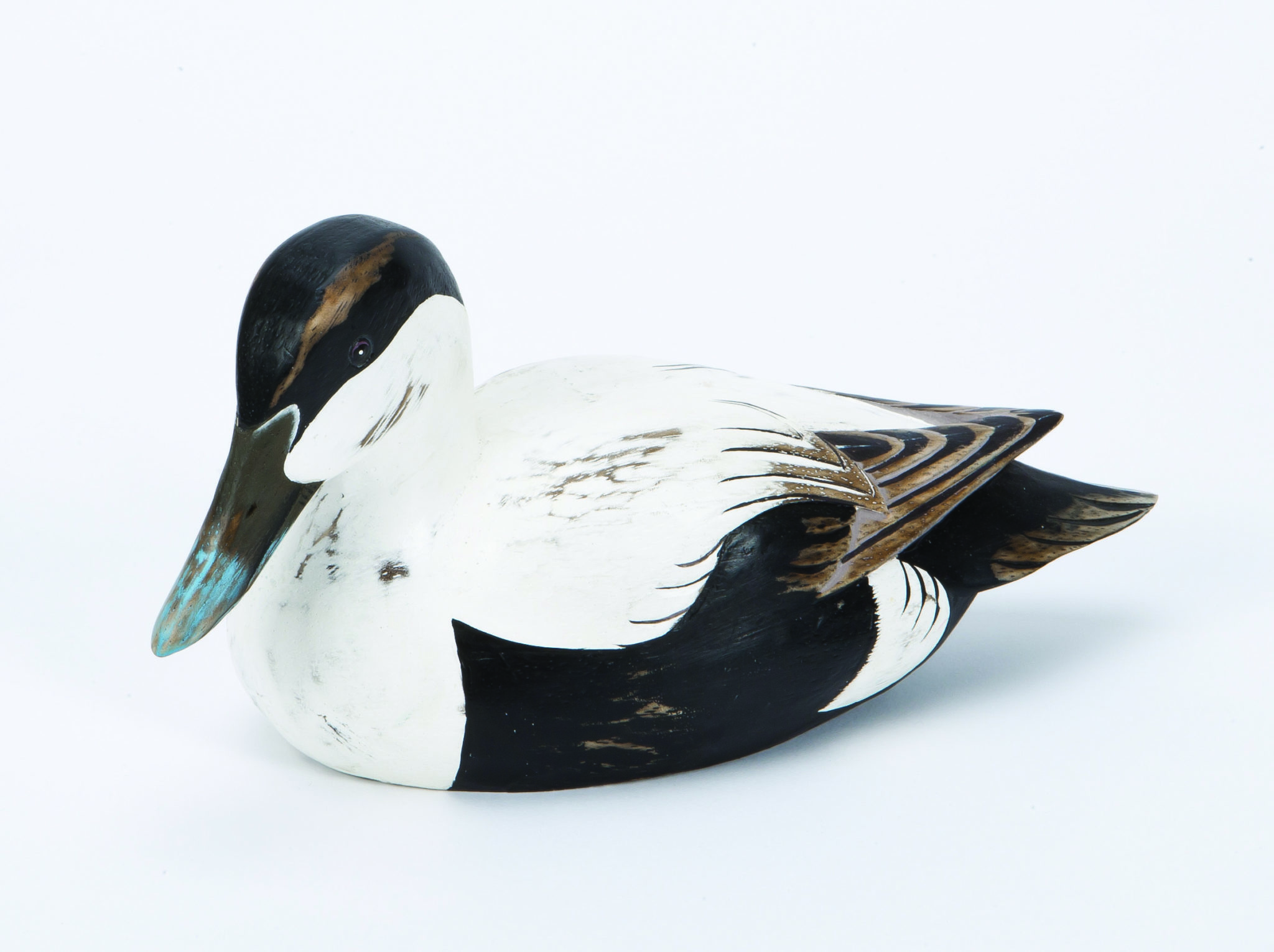 Archipelago Male Eider Duck Wood Carving D373. Hand carved and painted. Fairtrade
