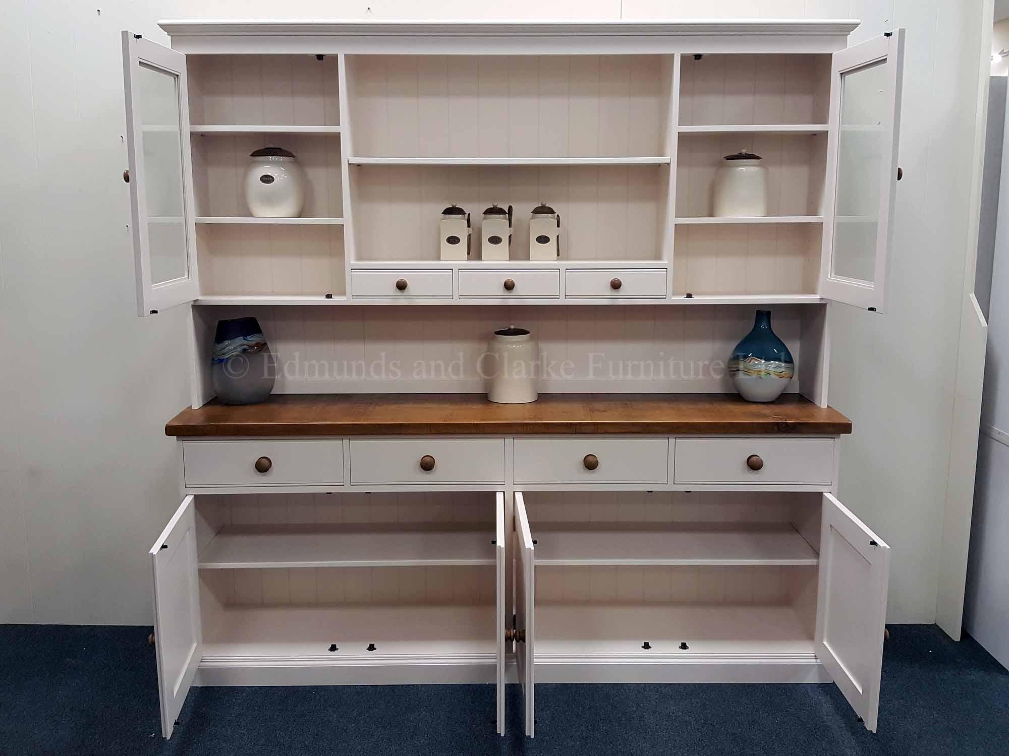 Edmunds plain painted kitchen dresser 7ft wide rough sawn chunky pine top