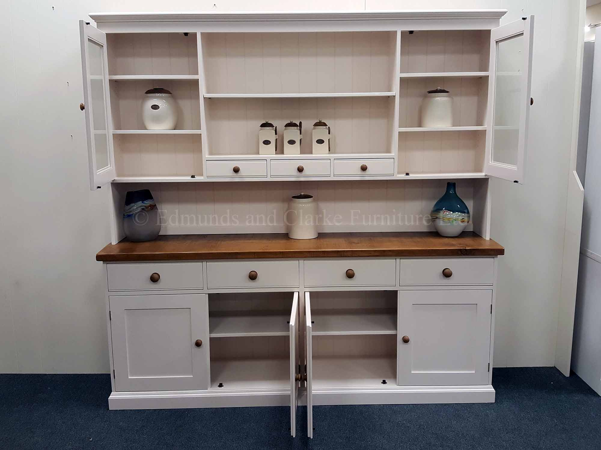 7ft plain painted kitchen dresser, choose your paint colour and tops