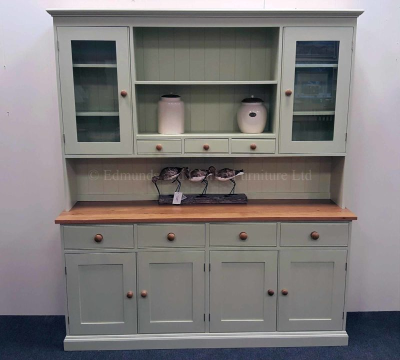 ... Plain Painted 6ft Kitchen Dresser. With Spice Racks , Oak Top And  Matching Oak Knobs