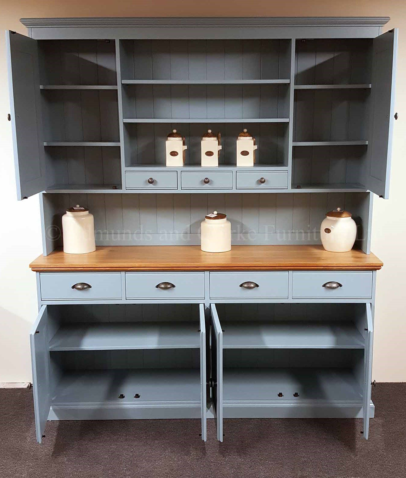 6ft wide plain painted kitchen dresser painted blue with oak top