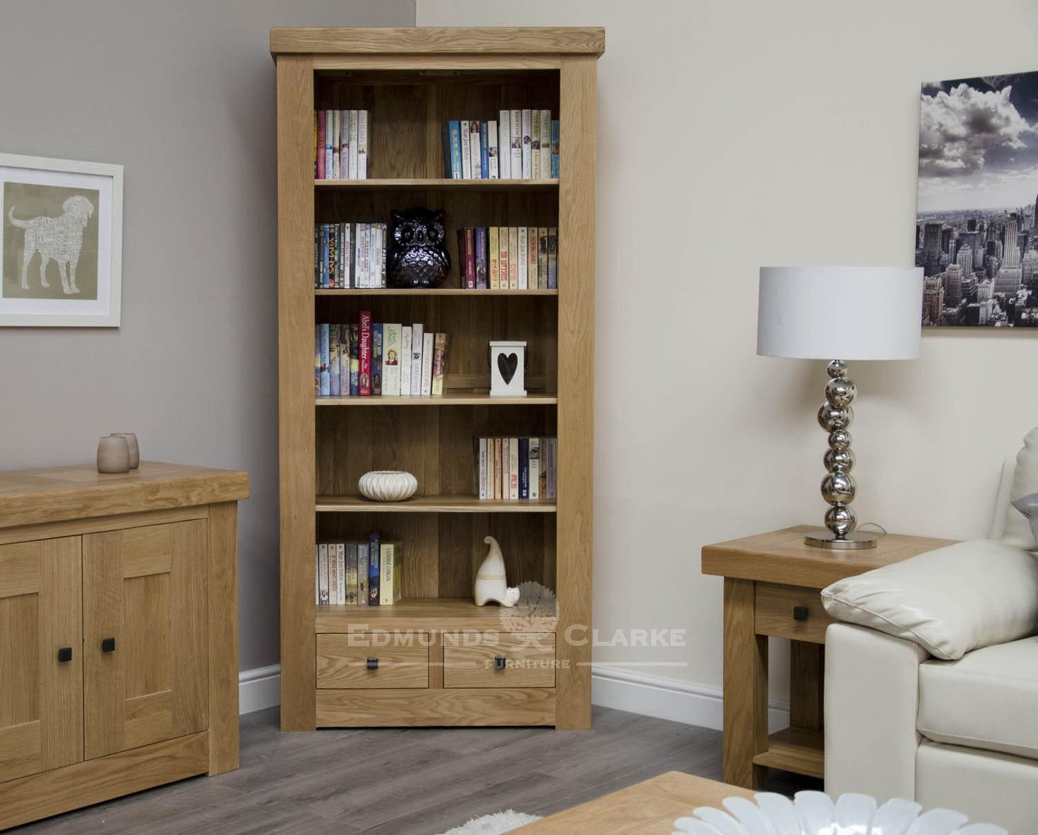 Hadleigh solid oak chunky 2 drawer large bookcase . rustic square knobs and adjustable drawers. light lacquer oak finish