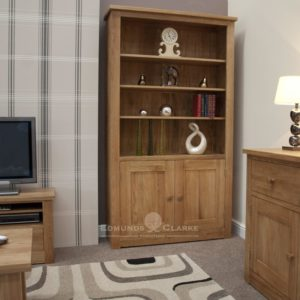 solid oak wide deep two door bookcase