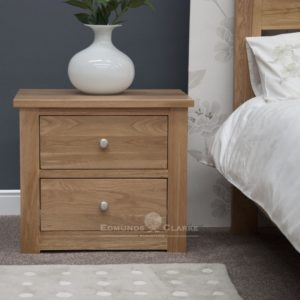solid oak two drawer wide bedside chrome tapered knobs