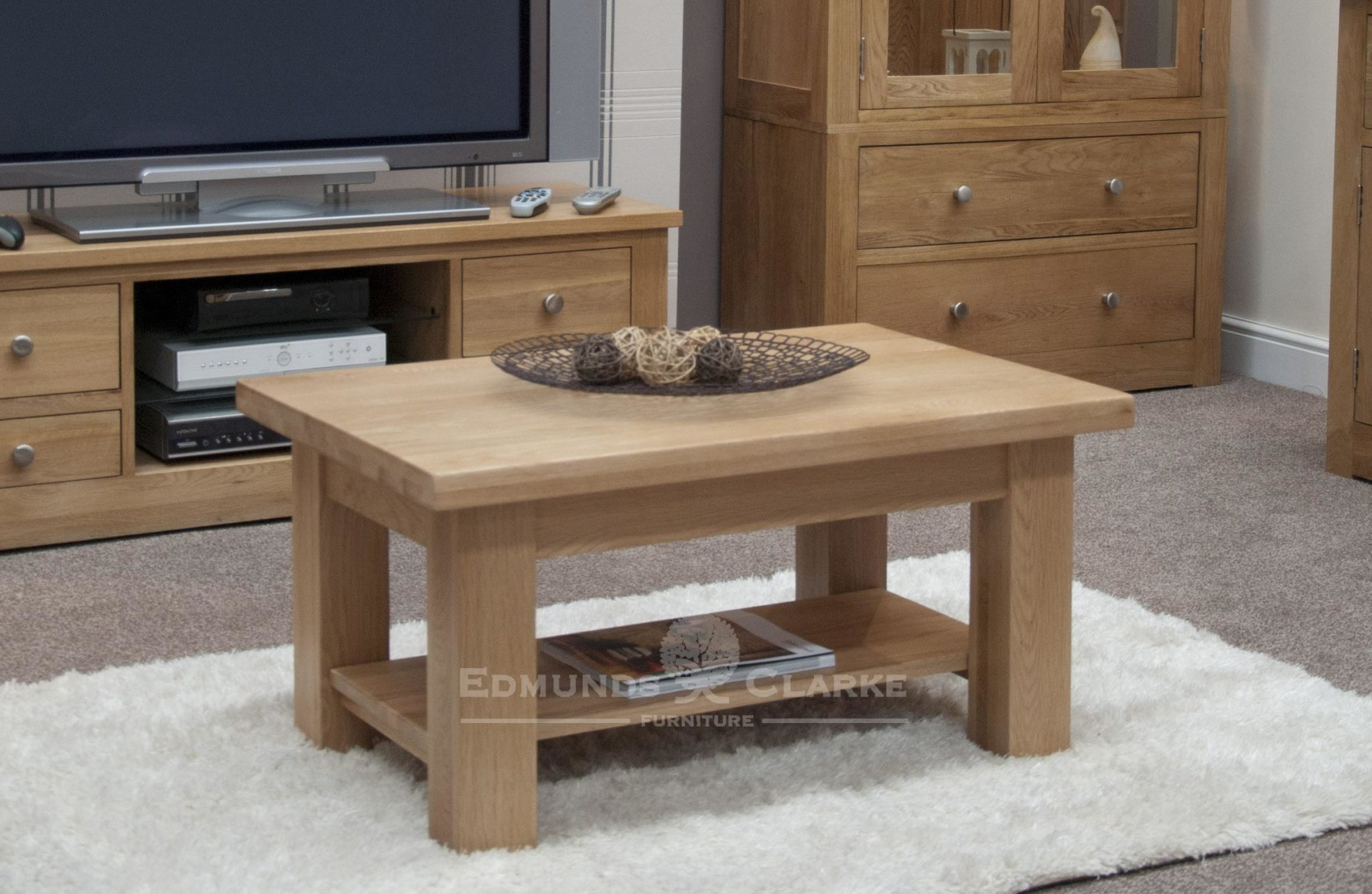solid oak chunky square leg coffee table with magazine shelf, 3 feet by 2 feet