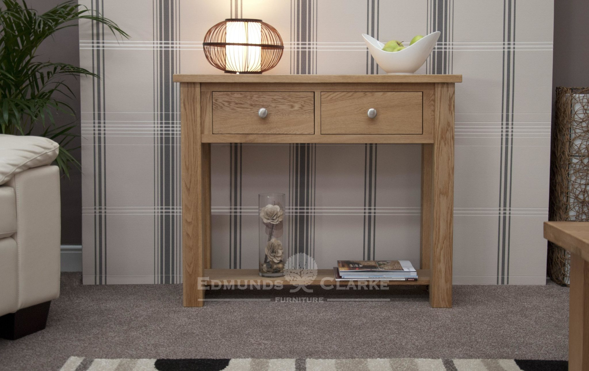 solid oak chunky hall table with two drawers and shelf below
