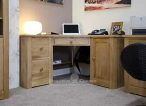 solid oak corner computer desk with two filing drawers and cupboard