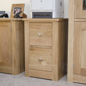 solid oak two drawer filing cabinet