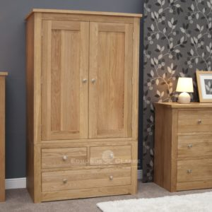 solid oak 2 door 3 drawer wardrobe