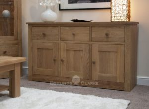 solid oak three door three drawer sideboard all square edge design with chrome tapered knobs