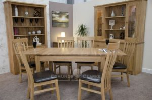 plain oak top extending table 6 - 10 seater