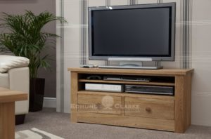 solid oak chunky square edge tv stand with two drawer below and open space with one adjustable shelf 110cm wide