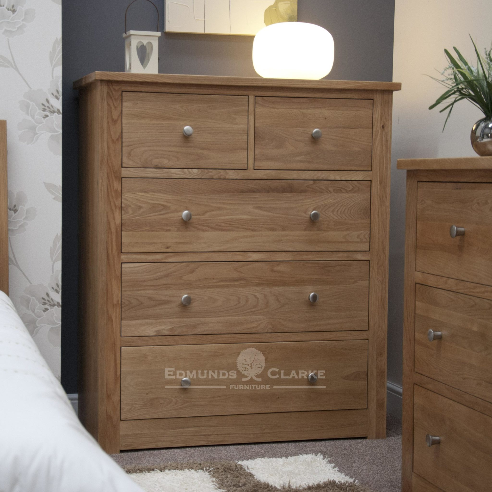 solid oak wide two over three drawer chest jumper sized drawers