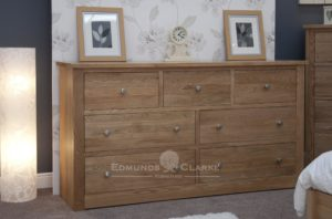 solid oak wide chest of drawers row of three along top with two rows of two drawers below, all drawers jumper depth 6 feet wide