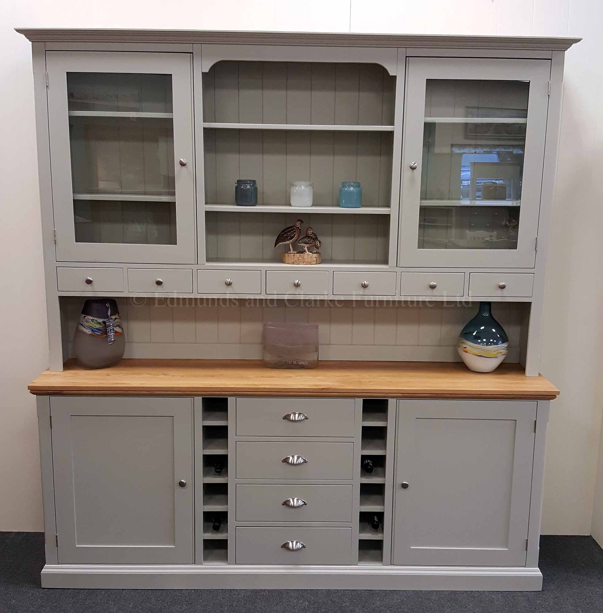 Edmunds Painted 7ft Tall Dresser With Wine Racks. Oak sideboard top and painted shelves