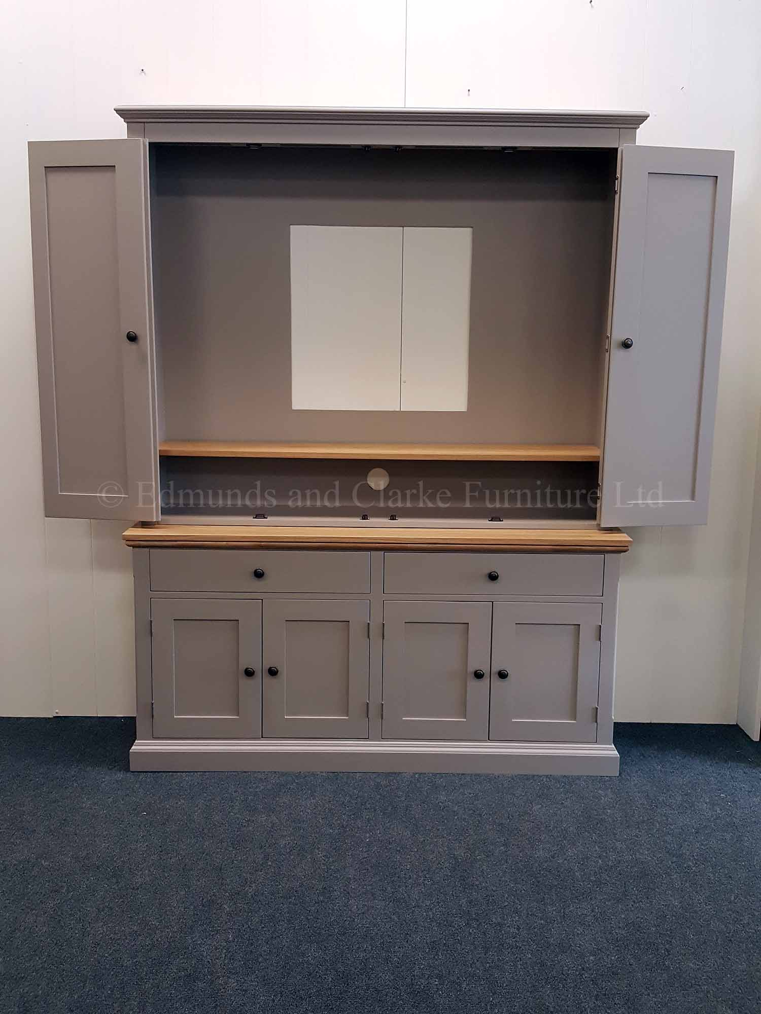 Edmunds painted TV Media Cupboard. 2 large drawers and 4 cupboards below for storage. 10 colours available and can colour match too