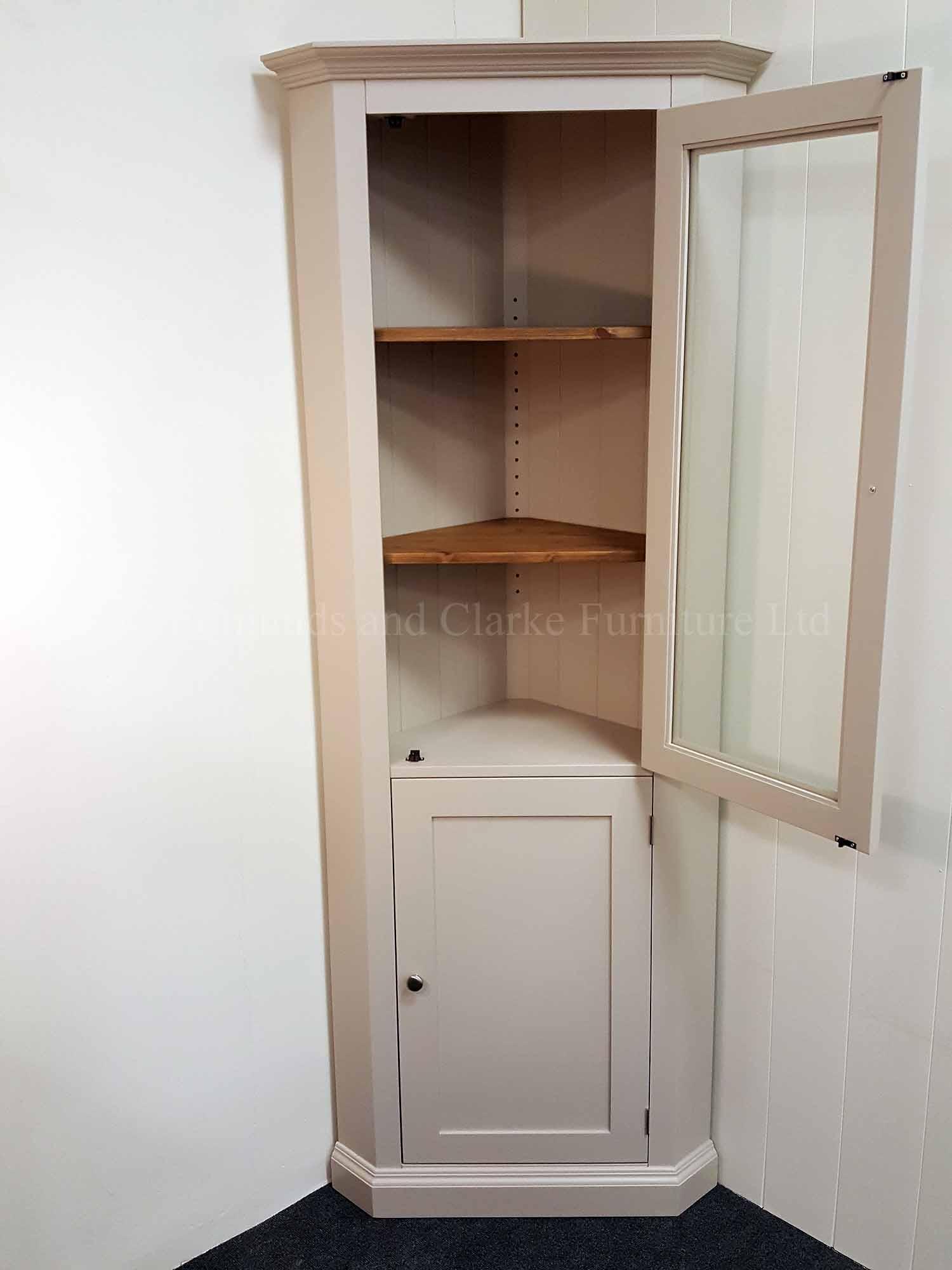 Edmunds full length painted corner cupboard with glazed door and paneled door below