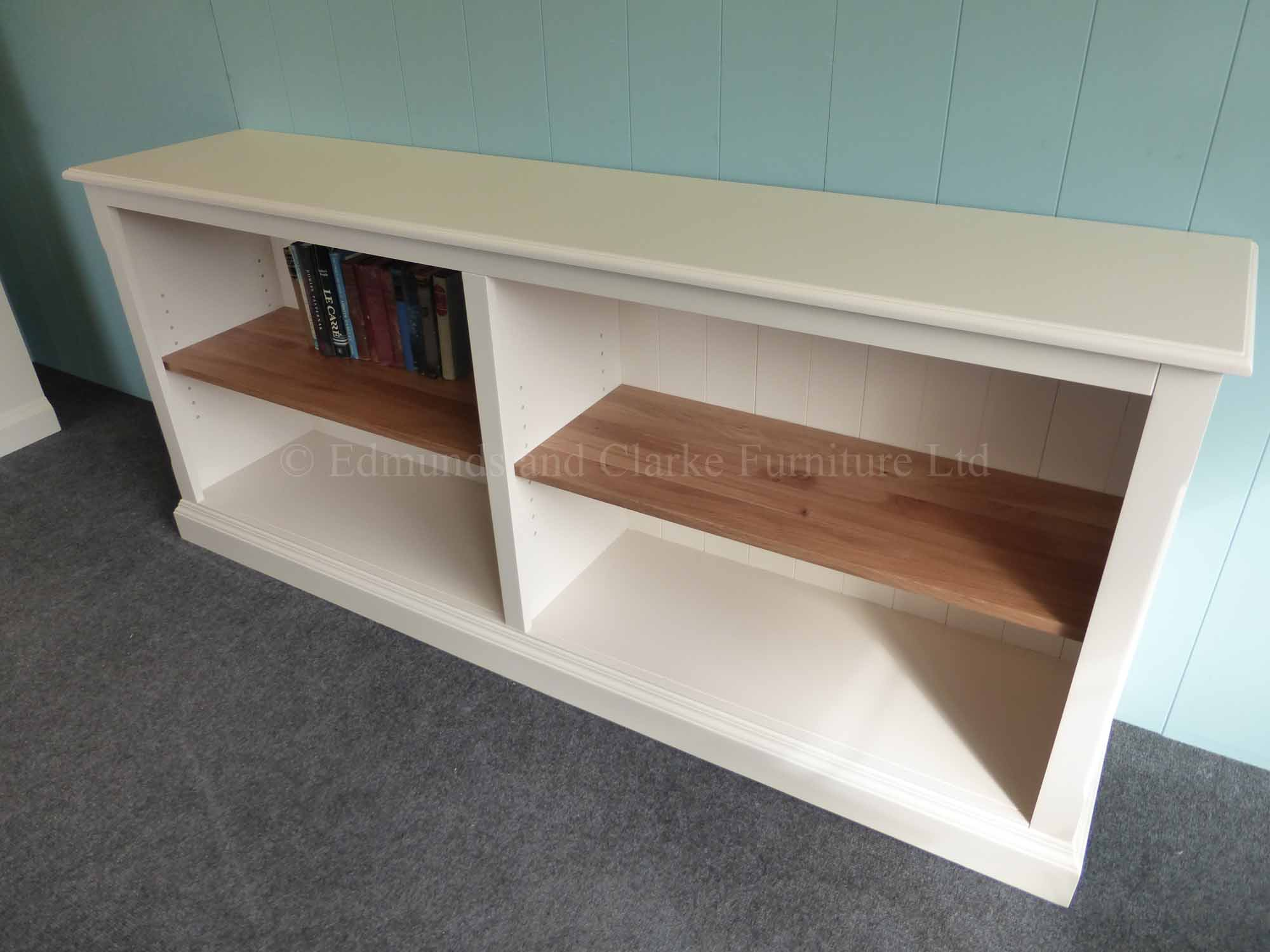 Low wide painted bookcase