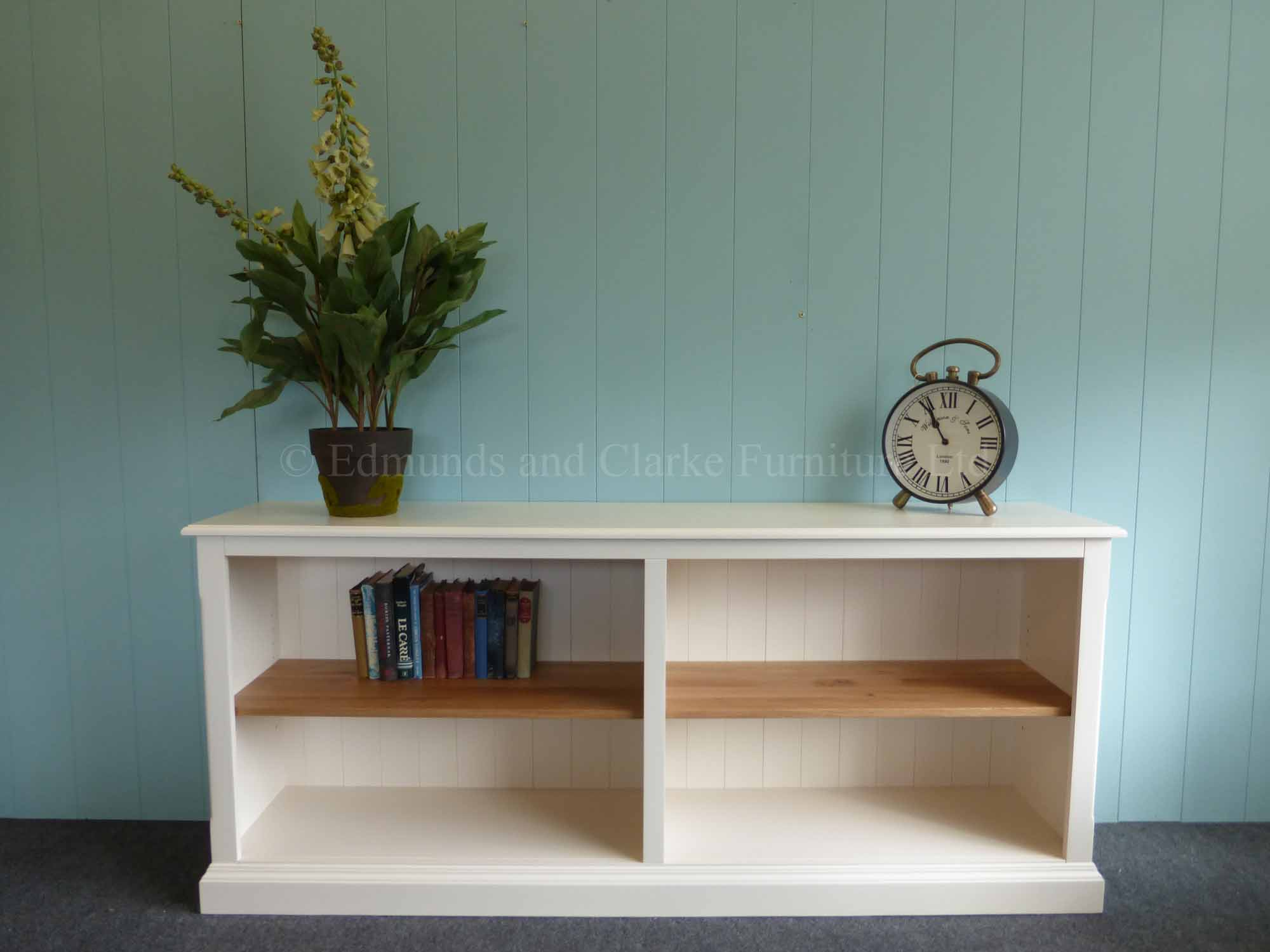 Edmunds painted low long double bookcase with oak shelves
