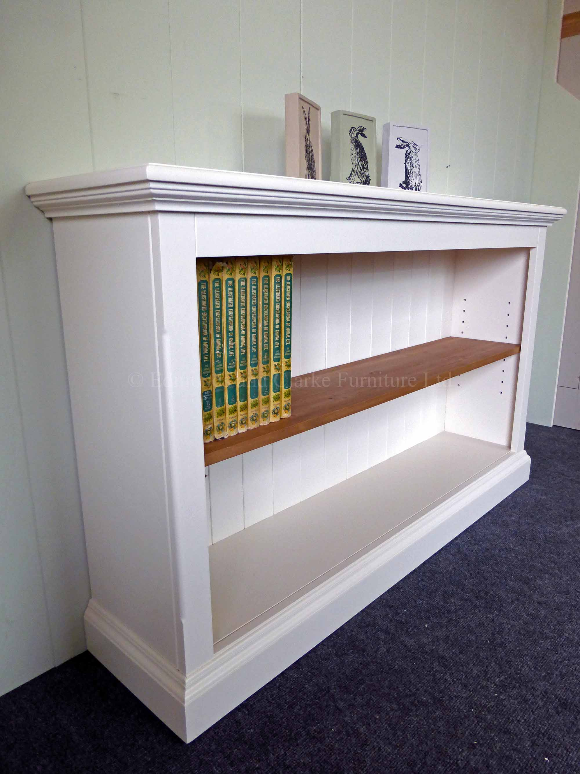 Edmunds Painted shallow depth Bookcases. pine or painted shelves available, moulded top and plinth. many heights and widths available only at edmunds clarke bury st edmunds