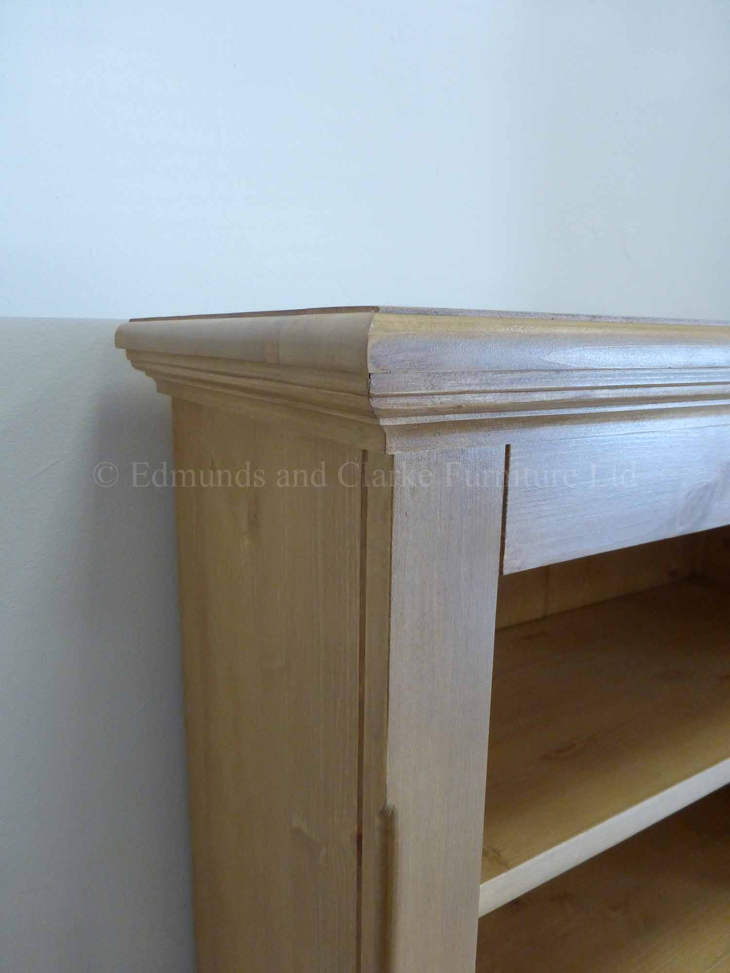 Edmunds slim narrow waxed pine bookcase shelving