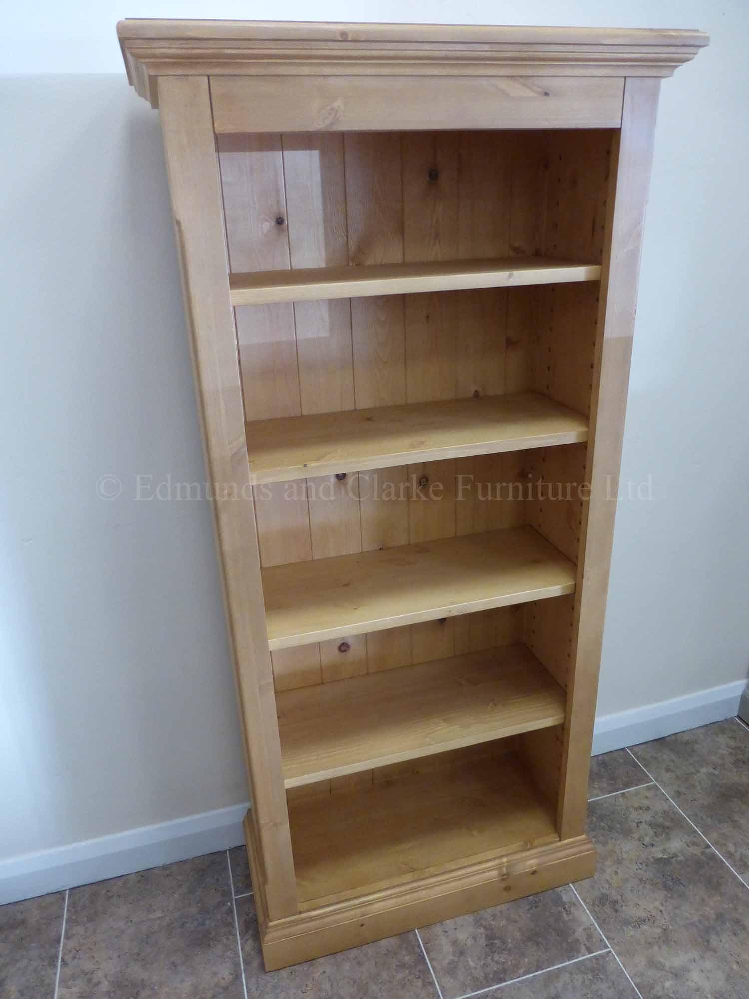 Edmunds slim narrow pine waxed bookcase