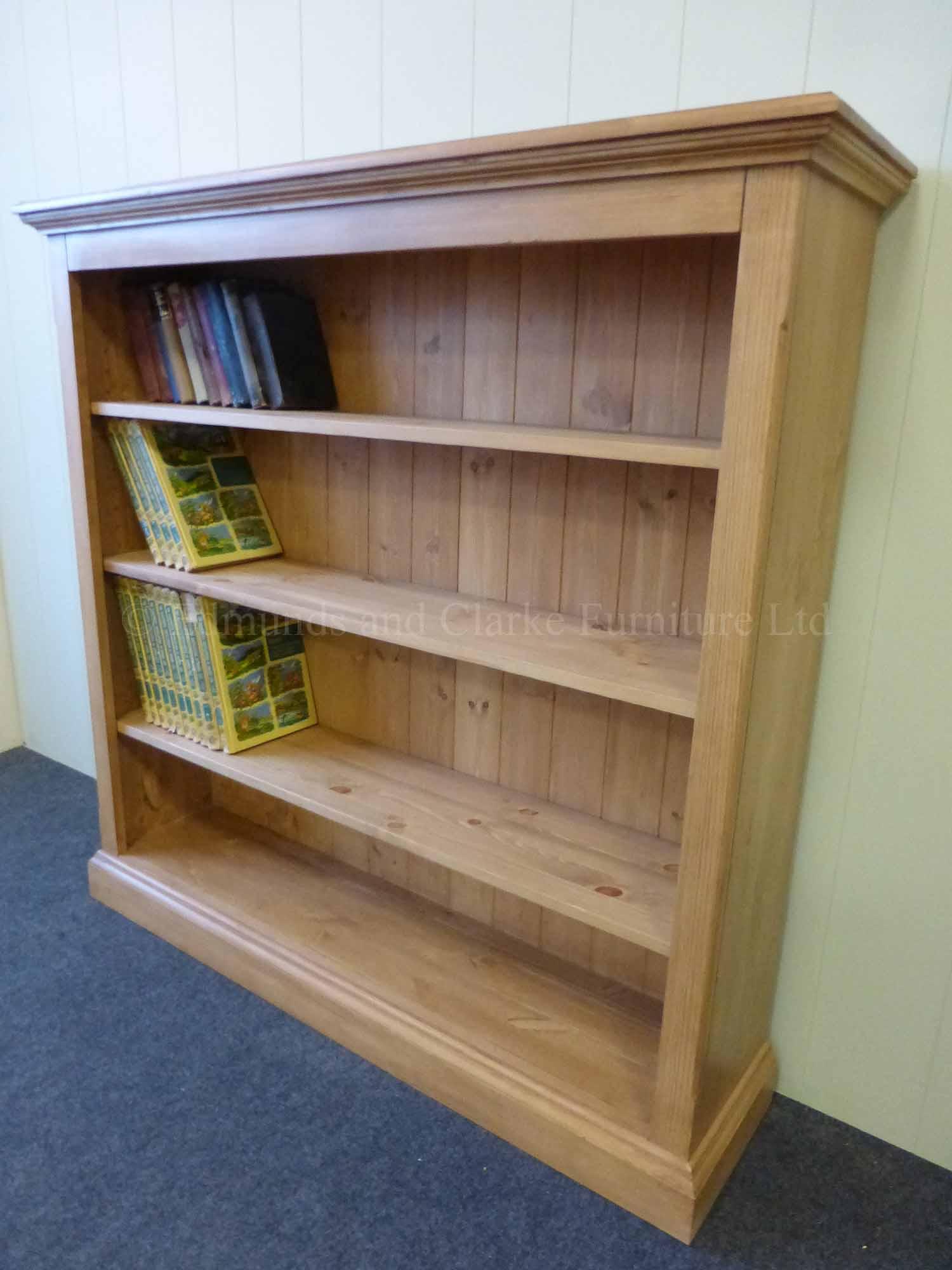 Edmunds standard depth pine waxed bookcase three adjustable shelves