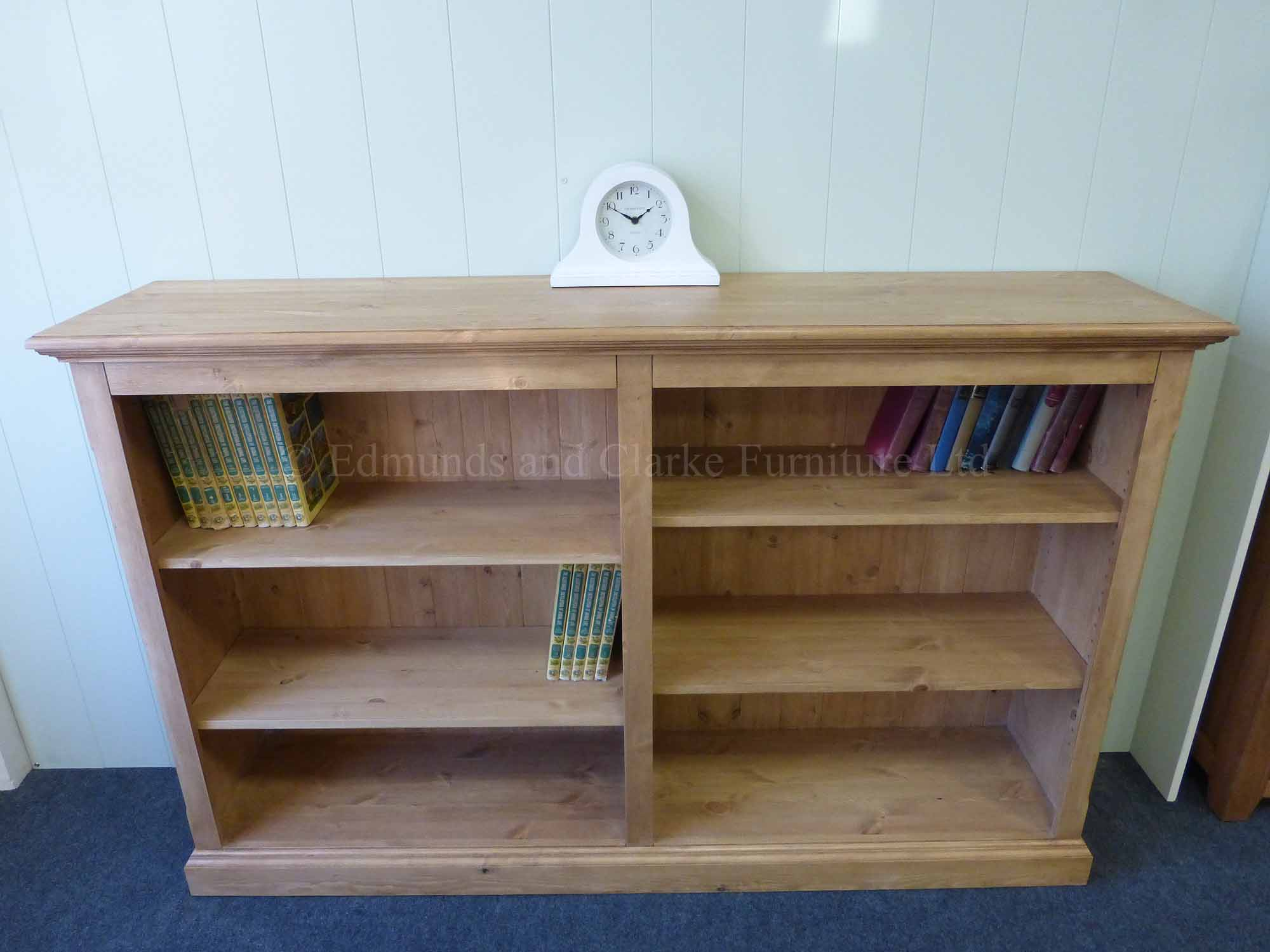 Edmunds twin waxed pine bookcase with four adjustable shelves