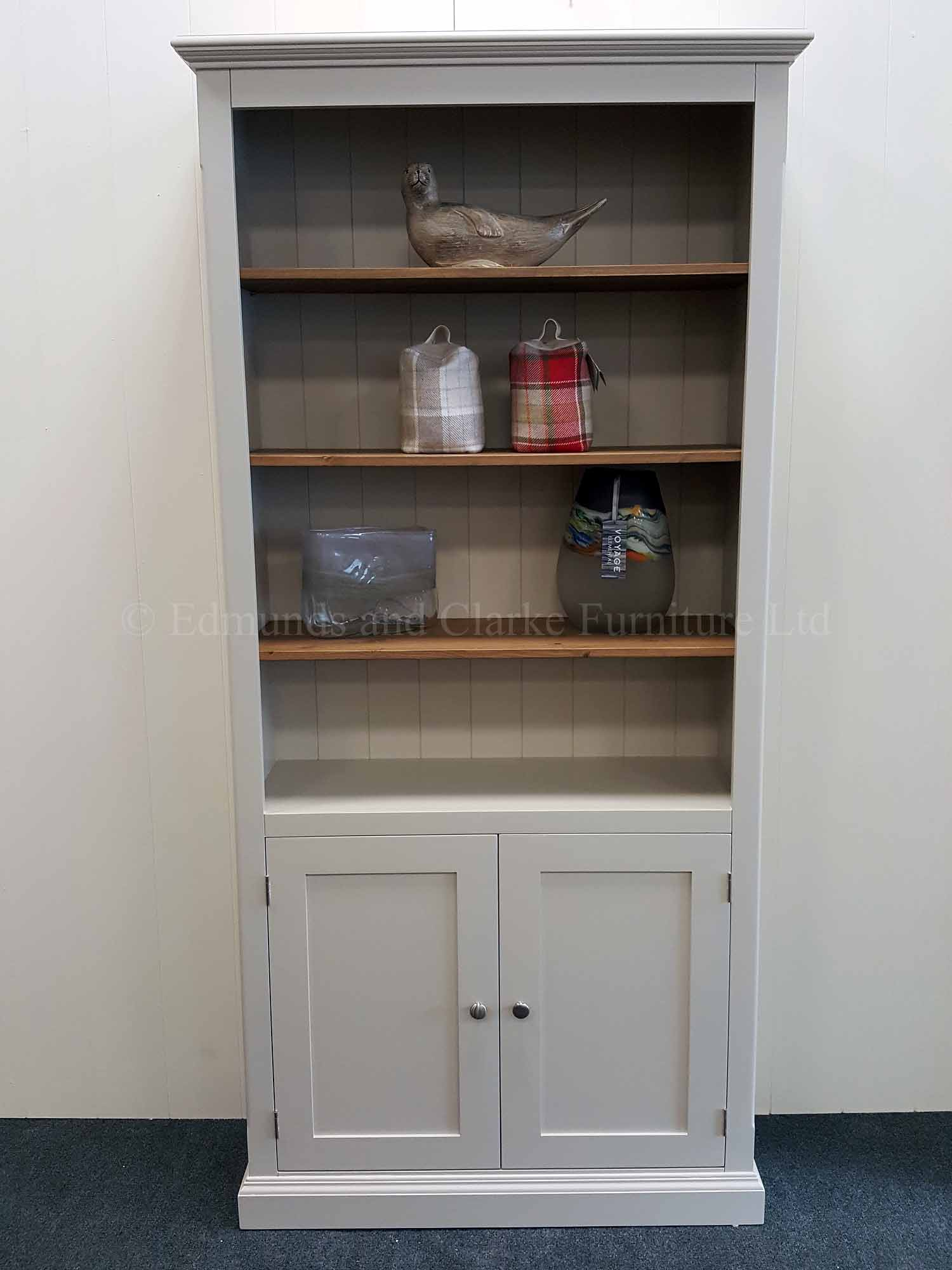 Edmunds Painted Bookcase With Cupboard. image shown painted with pine shelves