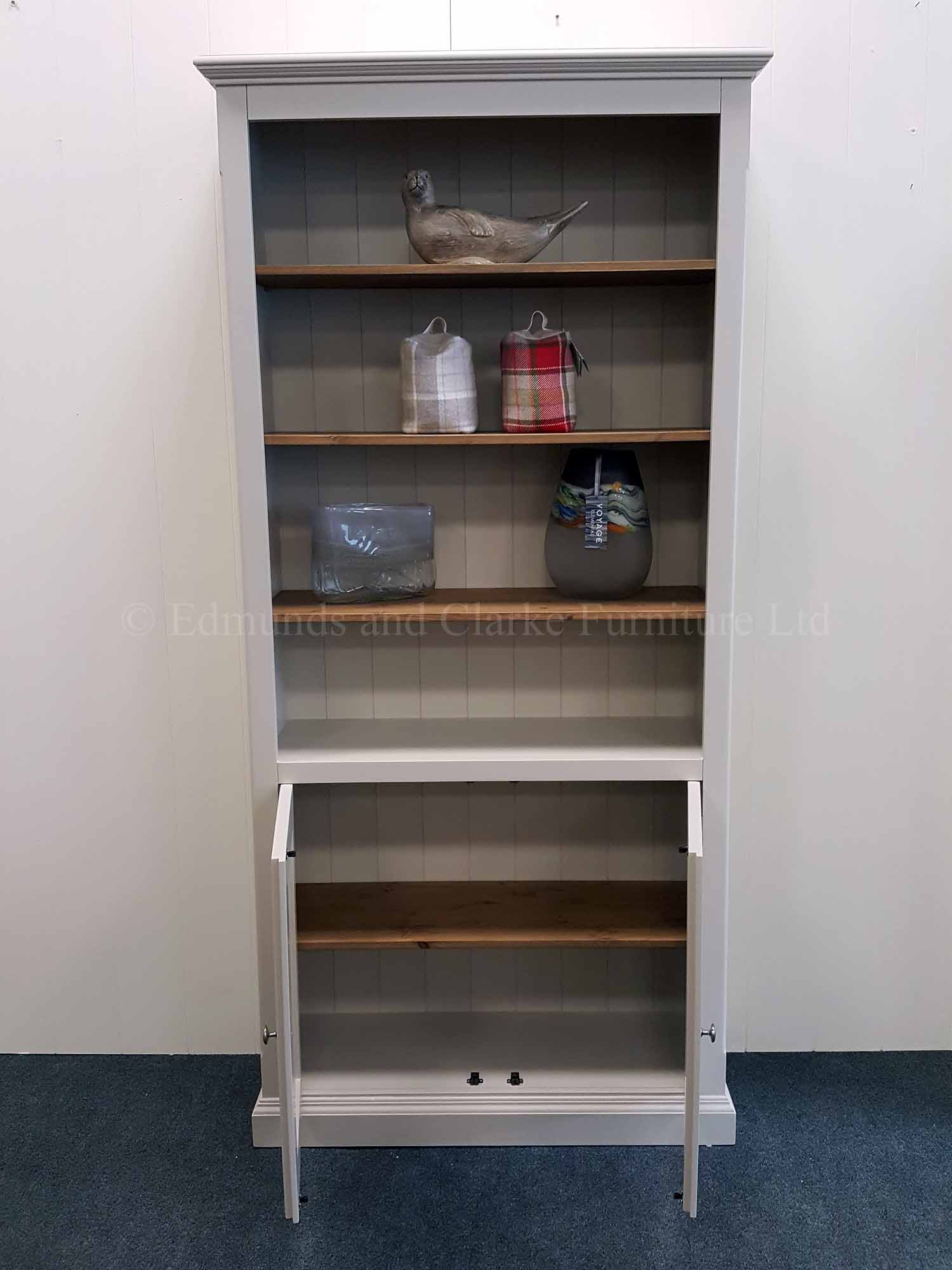 Edmunds painted two door bookcase adjustable shelves