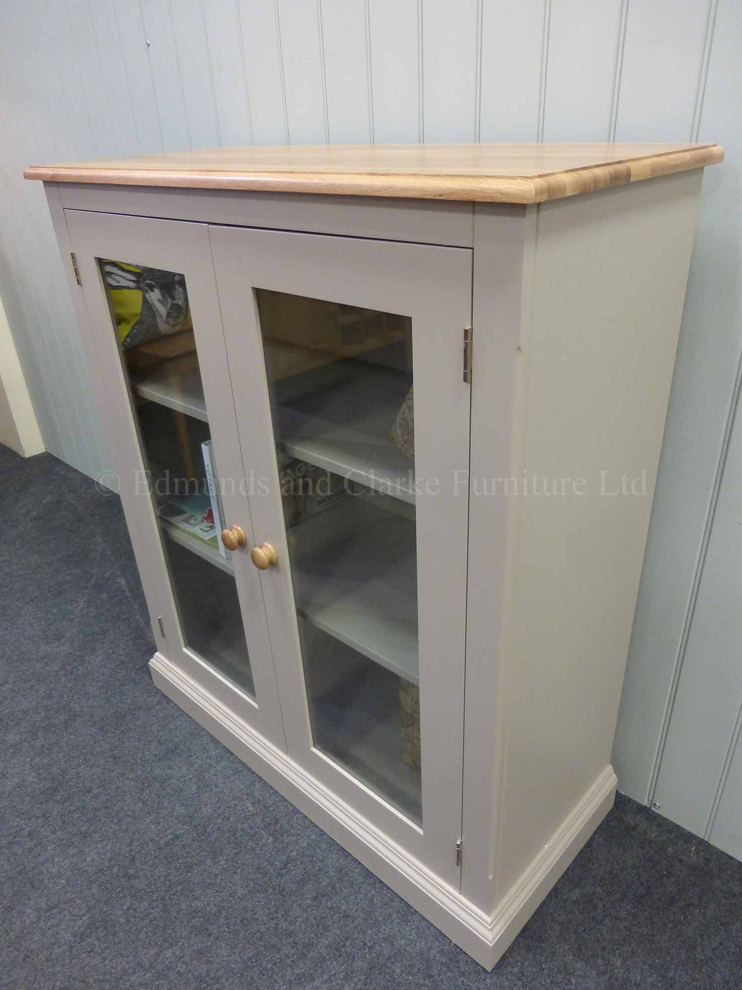 Painted low two door glazed bookcase, choice of paint colours and tops