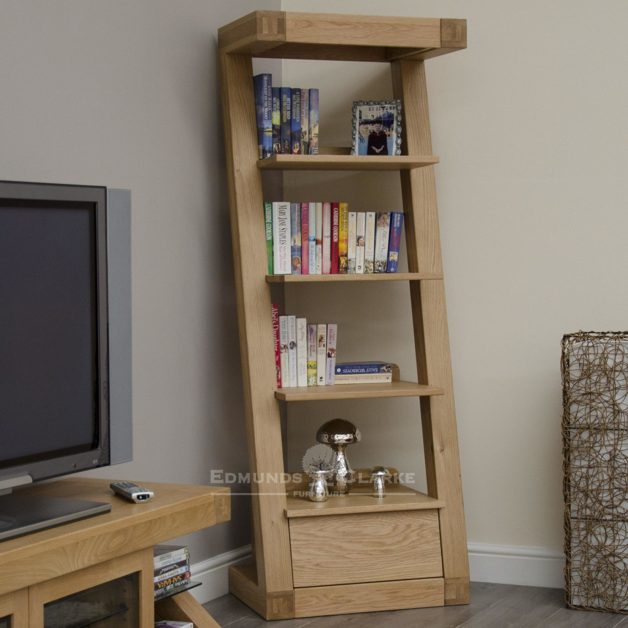 Z designer solid oak designed furniture narrow bookcase with drawer and four shelves