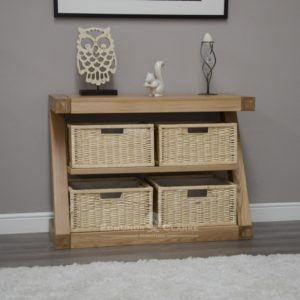 Z designer solid oak basket console table
