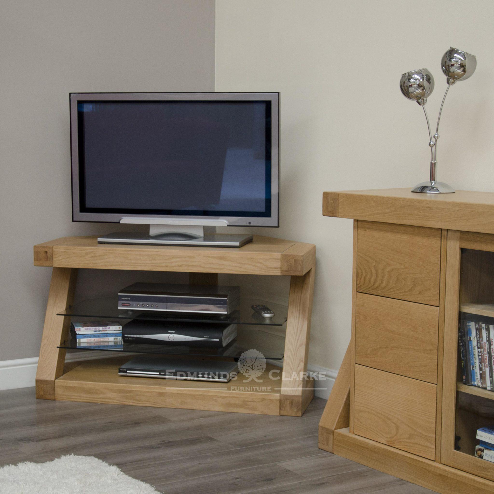 Z designer modern shaped solid oak corner tv entertainment stand ZCORTV
