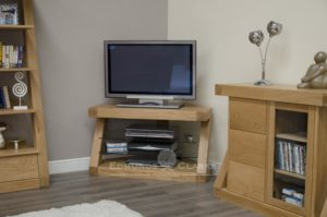Z designer solid oak corner TV unit ZCORTV