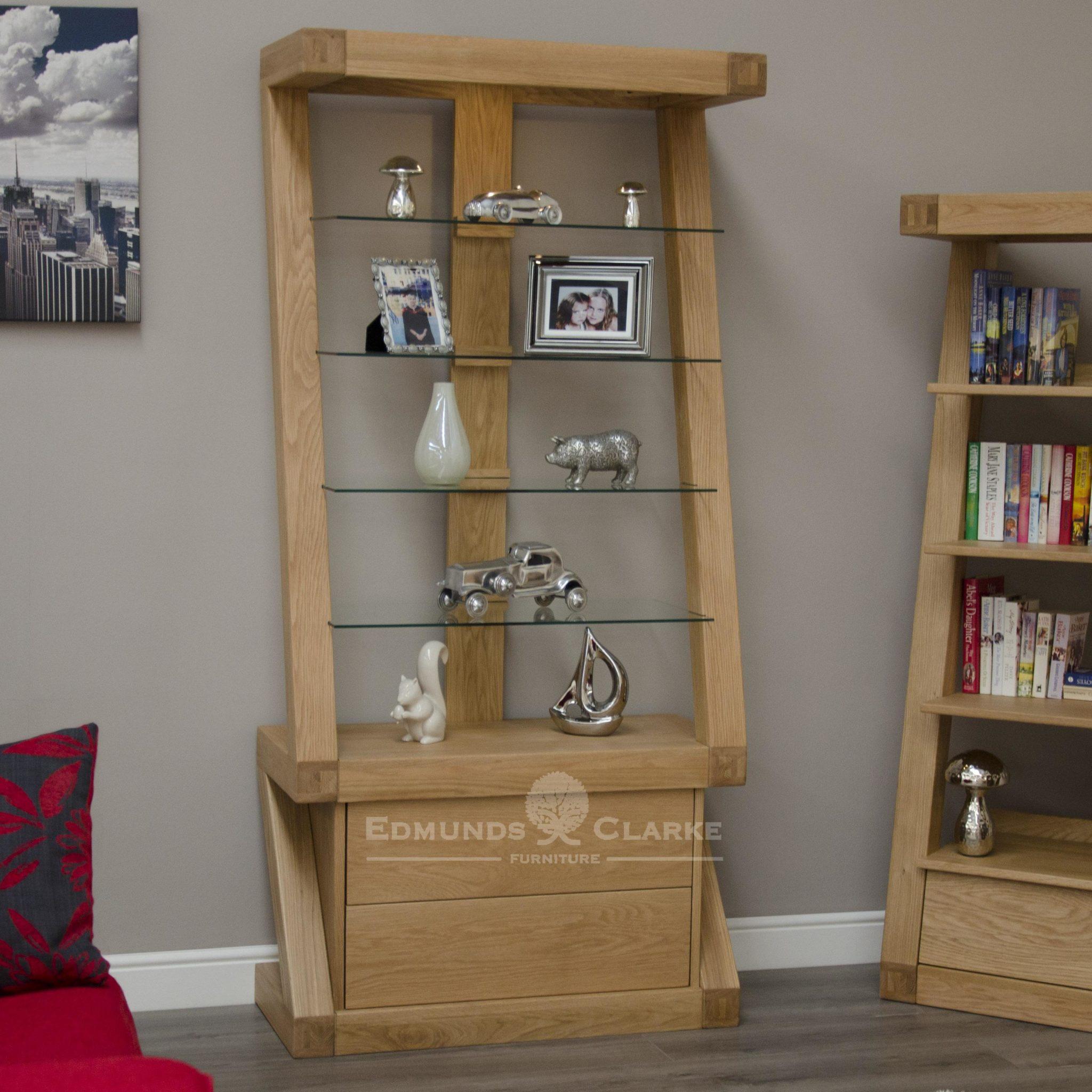 ZGDC Z designer solid oak glazed display cabinet with light and 4 glass shelves
