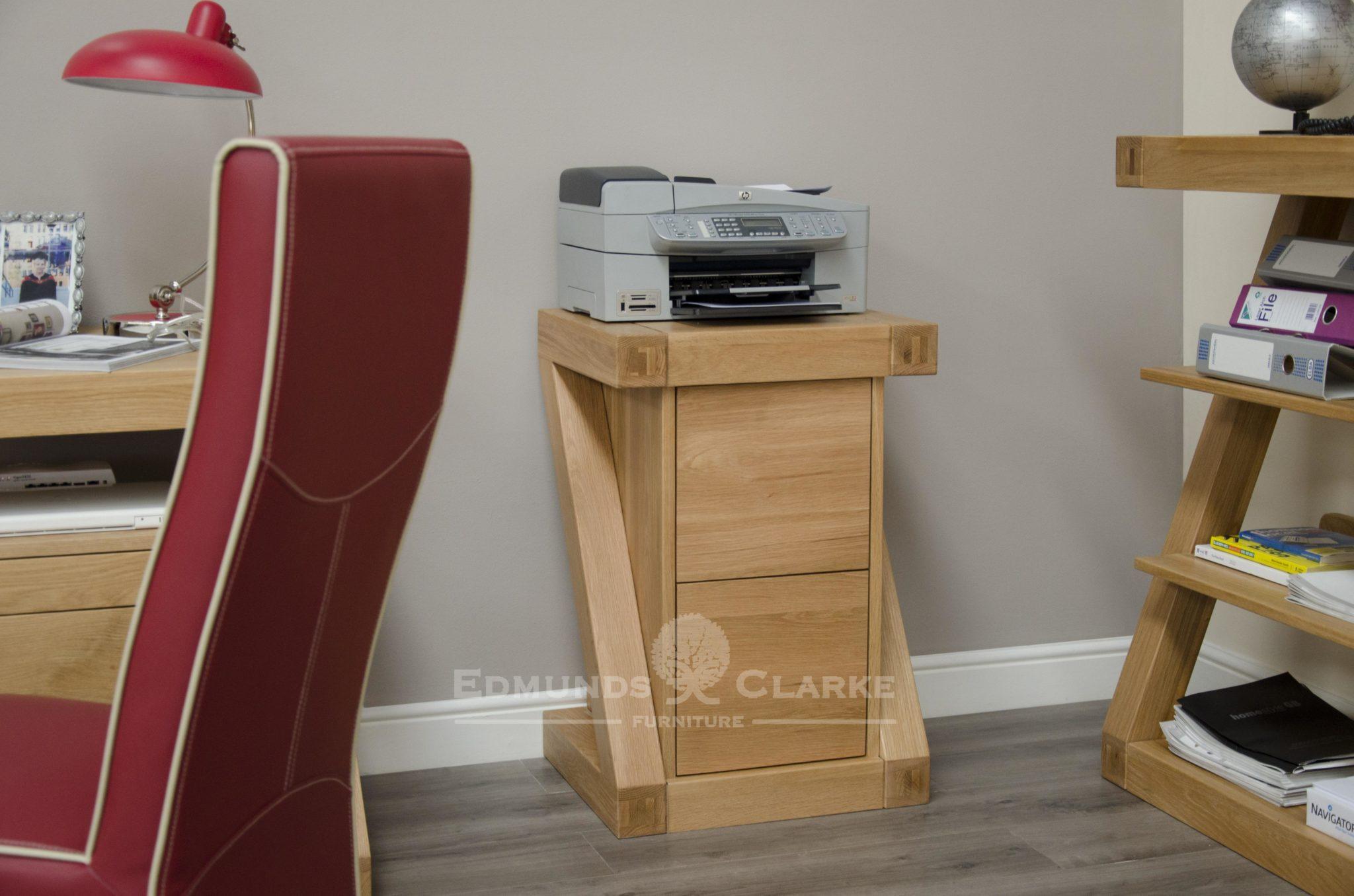 Z designer two drawer filing cabinet solid oak Z shape ZFC