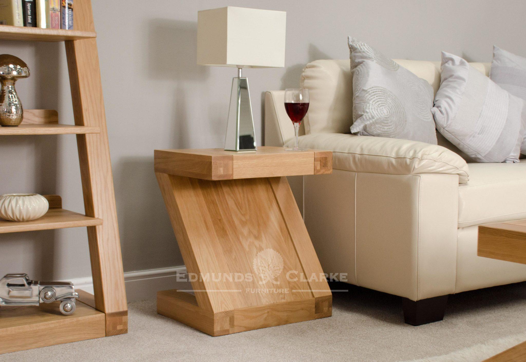 Solid oak Z style lamp table