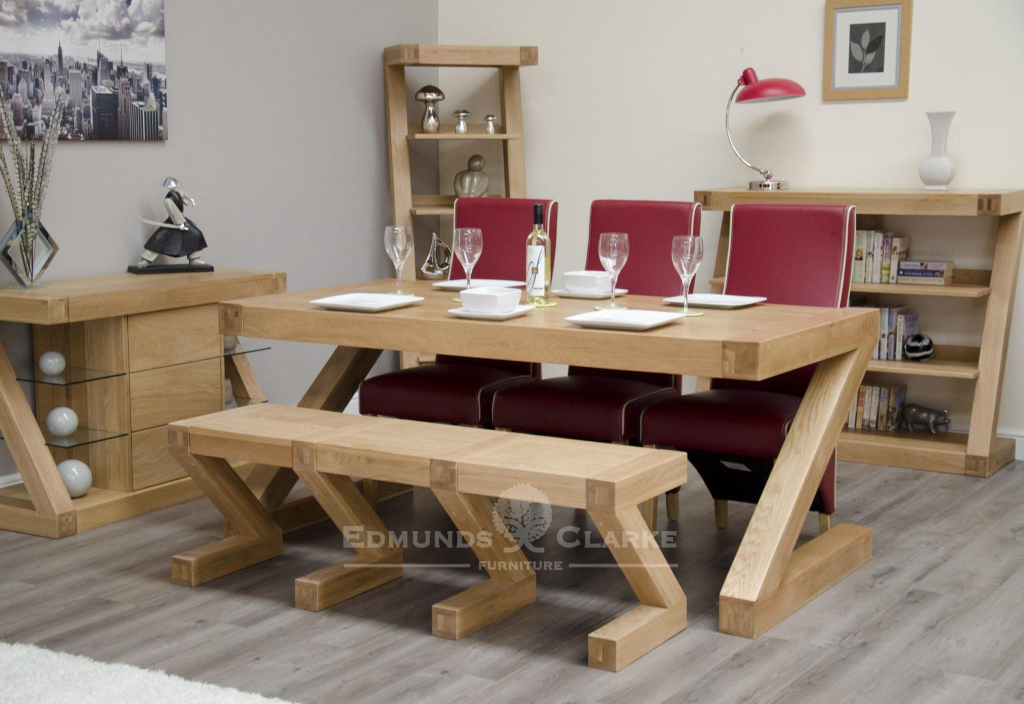 Solid oak large Z style bench
