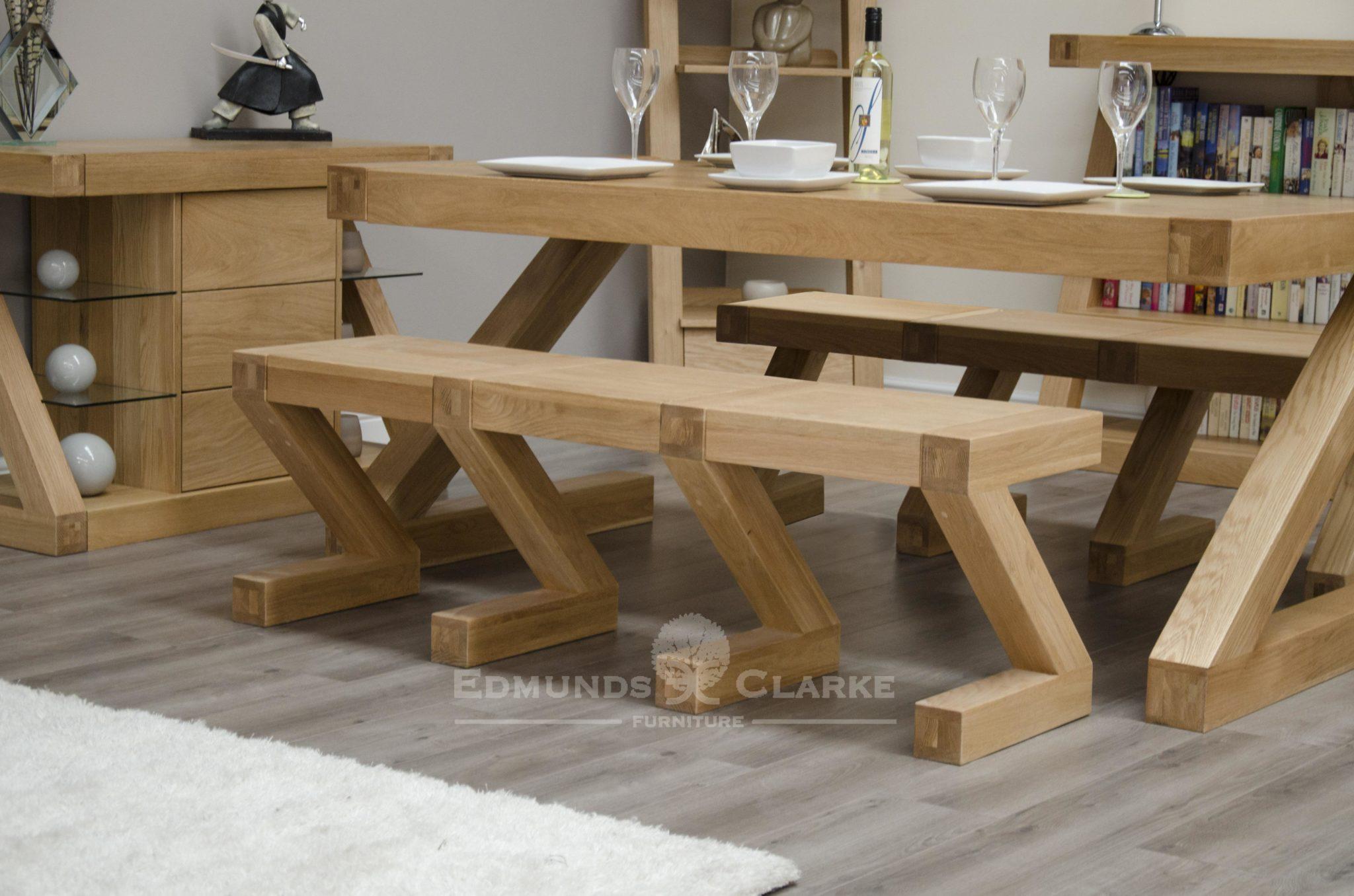 Z designer solid oak Z shaped large bench made for matching Z table