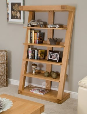 Z shaped solid oak designer style large bookcase five shelves ZLBC