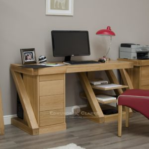Z designer solid oak large computer desk with drawers and shelving ZCDL