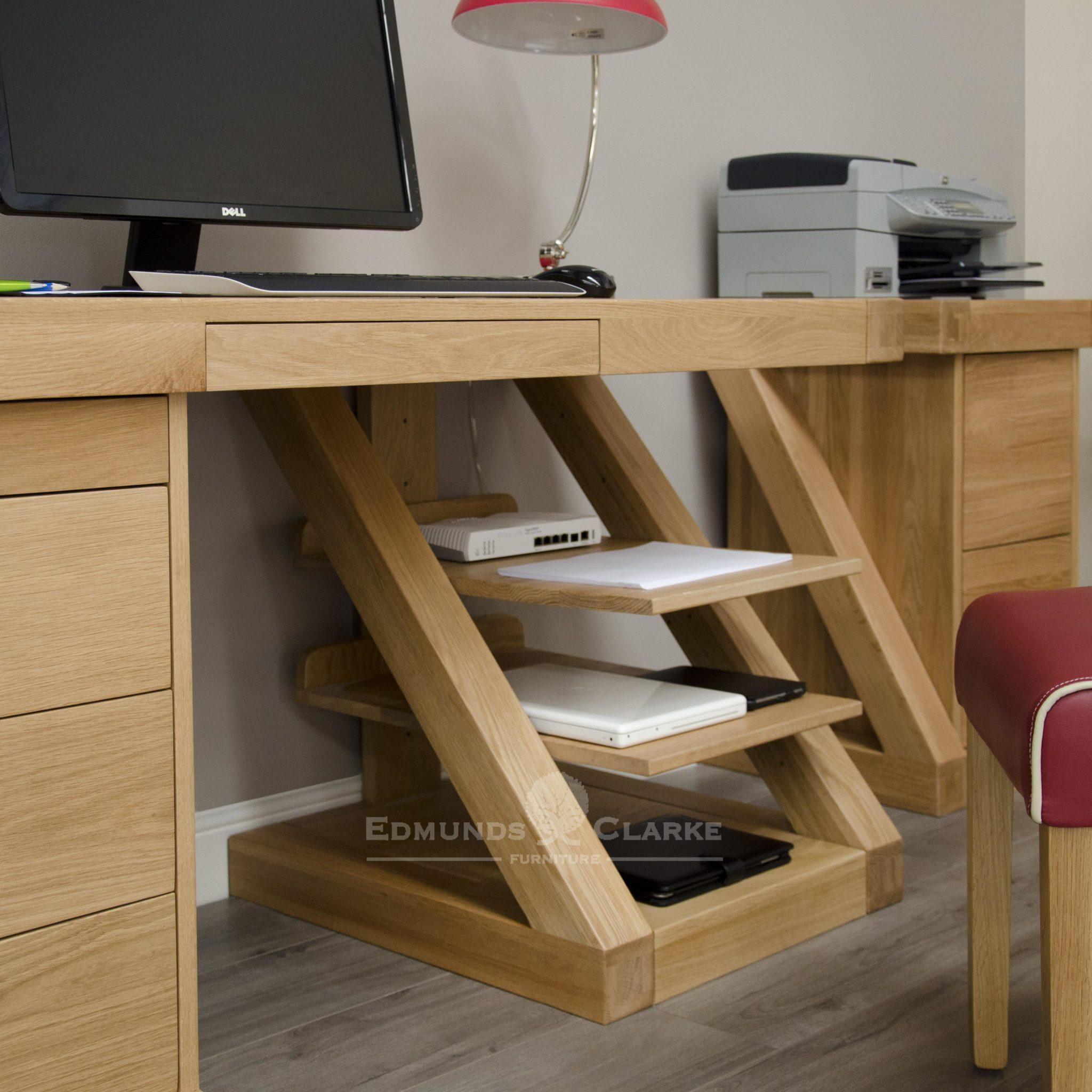 z designer large solid oak computer desk