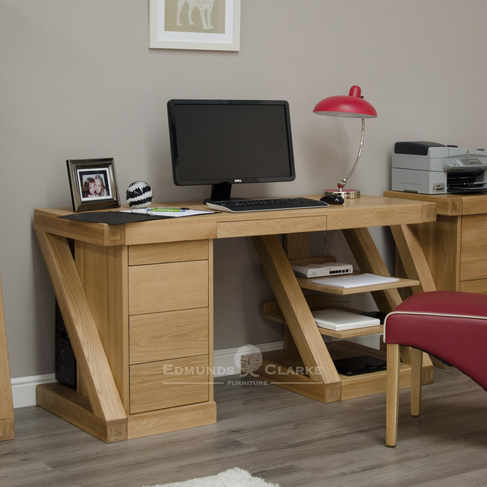 Z designer solid oak large computer desk with drawers and shelving ZCDL