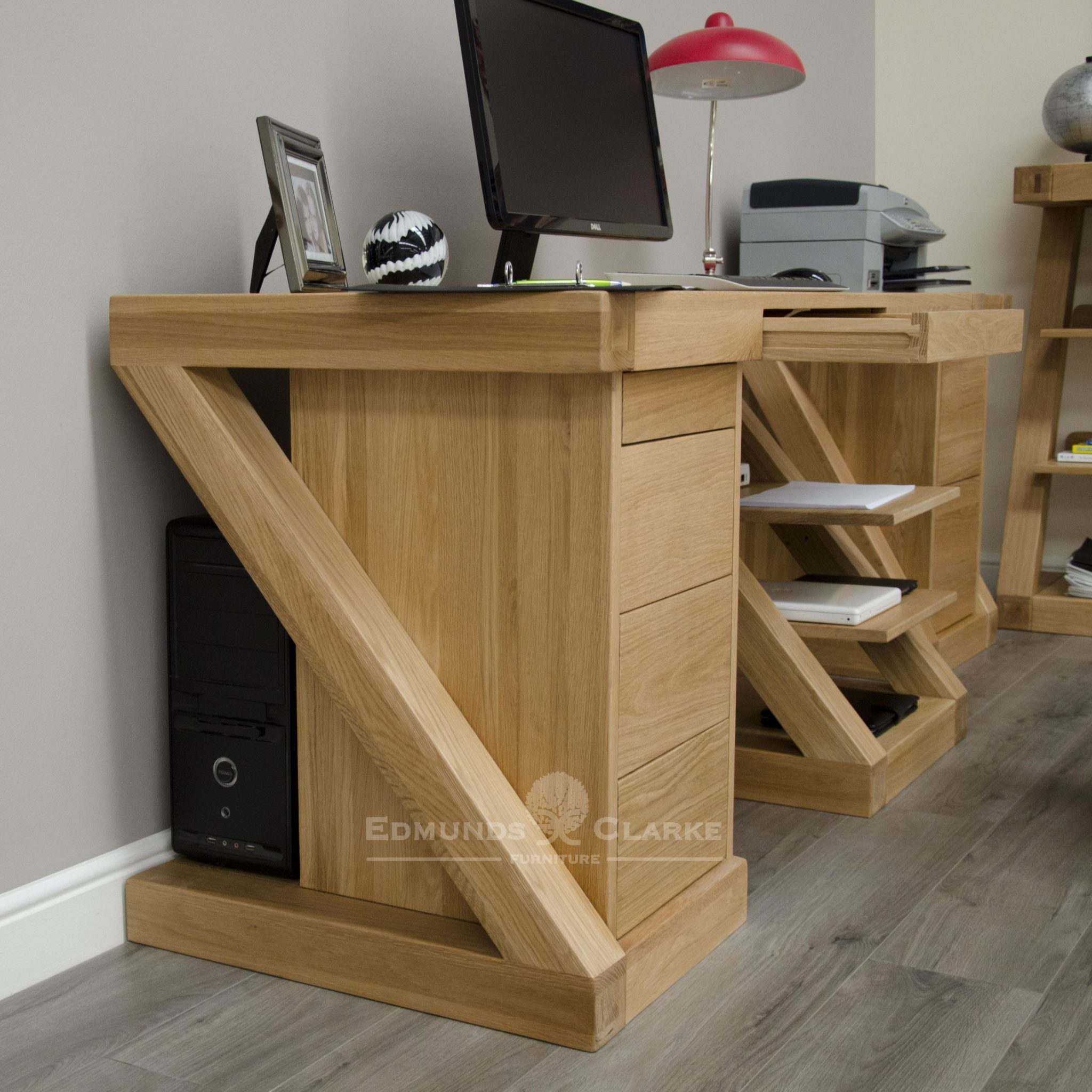 ZCDL Z designed solid oak large computer desk