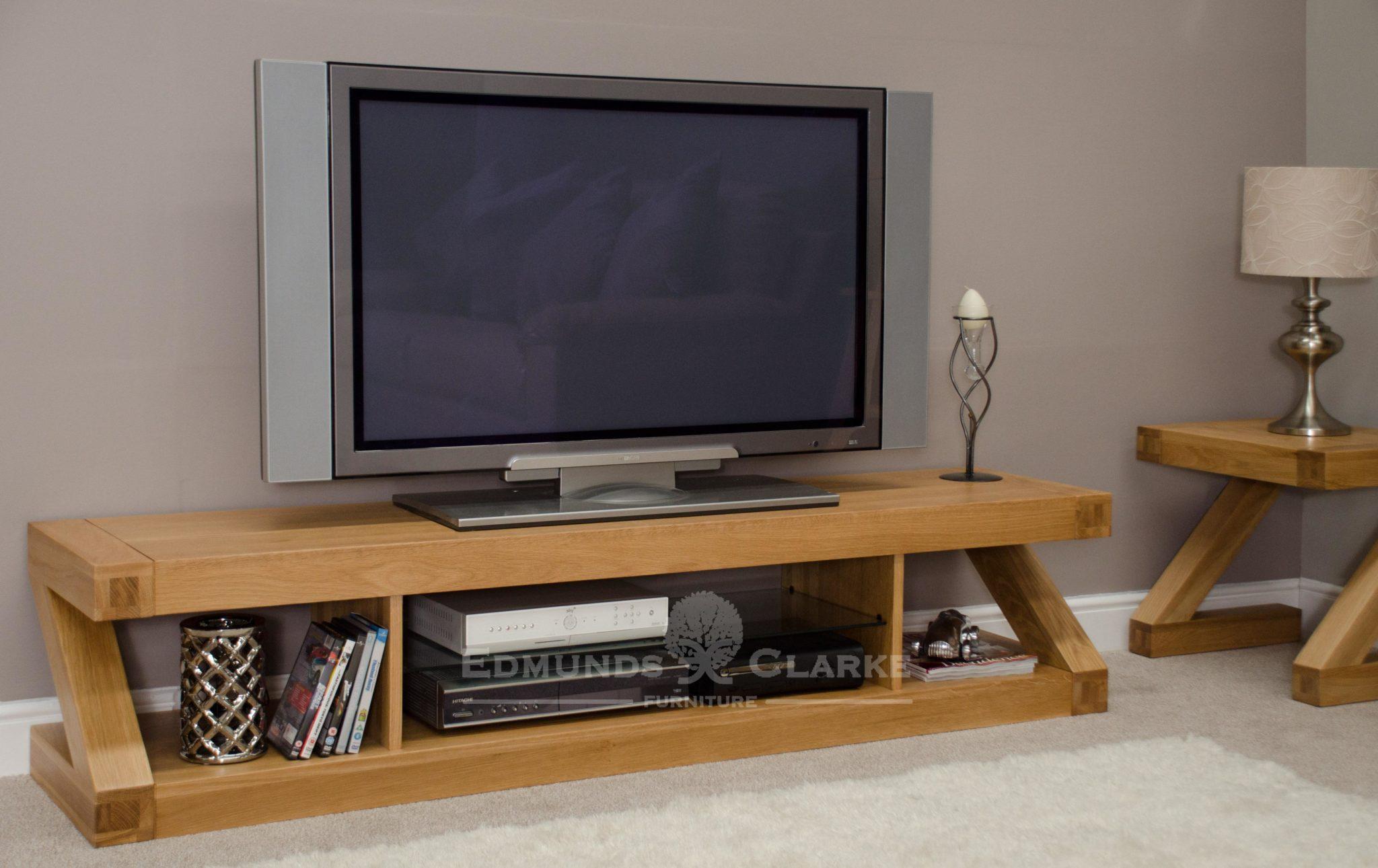 Wide solid oak plasma tv entertainment unit Z designer ZLGPLAS